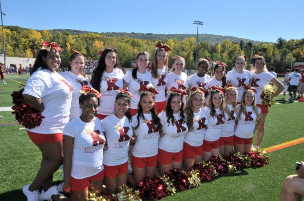 Image from King's College Facebook page Cheerleaders attend the 2014 Homecoming football game.