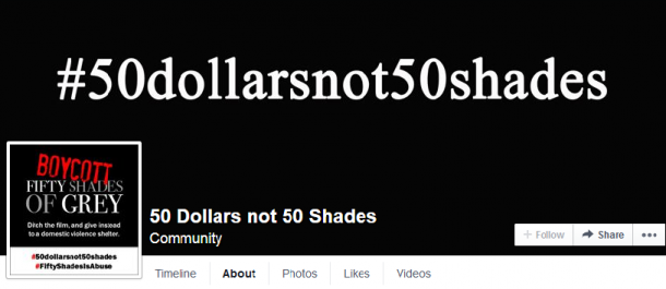 The #50DollarsNot50Shades campaign has a Facebook page with more information for those interested.