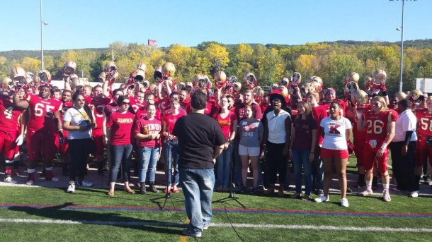 Monarch football players signing the school alma mater following their homecoming win.  King's College Twitter Account.