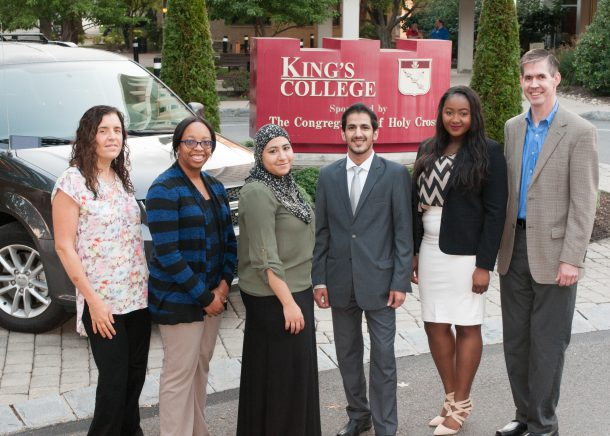Image courtesy of Bill Bolan From left to right: Dr. Janice Thompson, Jasmine Tabron, Sara Ahmed, Umar Alkhaldi, Ida Dumbuya and Dr. Bill Bolan represented King's at the Sixth Annual President's Interfaith and Community Service Campus Challenge National Gathering.