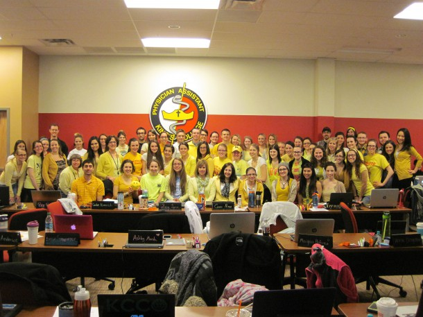 Image courtesy of Jaclyn Beck King's College PA students wear yellow for Seth Lane, a 5-year-old boy who was born without an immune system. Seth asked people to wear yellow in support of him and post the pictures online so he could see them.