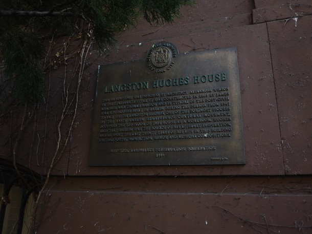 Image courtesy of Dr. Noreen O'Connor A  plaque marks the house where famed Harlem Renaissance poet, Langston Hughes, lived.