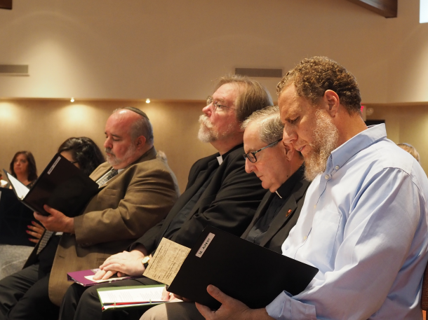 Kruschef Sanchez // The Crown From left to right: Rabbi Larry Kaplan, Rev. Brian Pavlac, Father Jack Ryan and Dr. Ibrahim Almecky participate in an interfaith prayer service held at King's College on Sept. 9.