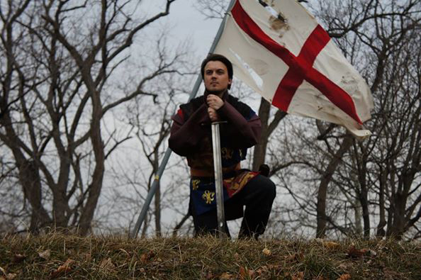 "Image courtesy of King's College Theatre Department Junior Kyle McCormack steps into the shoes of King Henry V in the King's College production of Shakespeare's ""Henry V."""