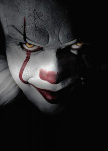 Photo from IMDB.com Bill Skarsgård stars as Pennywise, everyone's favorite, iconic evil clown, in the 2017 remake of the 1990 miniseries starrtng Tim Curry.