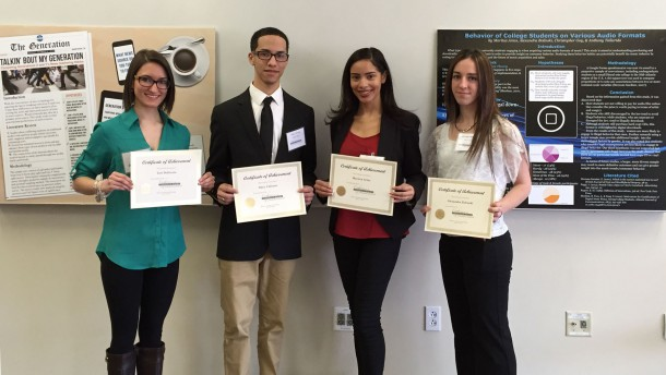 Image courtesy of Karen Mercincavage Mass communications seniors Vittoria DeGiosio, Dany Calcano, Maritza Arias and Alexandra Bolinski present their research at the poster session for the 2015 RIT Conference for Undergraduate Research in Communication.
