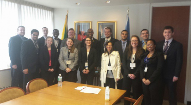 Image courtesy of Anthony Cardone King's College students visit the Jamaican embassy and meet with a delegate to the United Nations as part of the National Model United Nations conference.