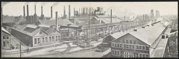 Library of Congress A postcard from about 1912 features a panoramic view of Bethlehem Steel Works's grounds and buildings in South Bethlehem, Pennsylvania. The company made steel for the Golden Gate Bridge, the New York City skyline, and World War II tanks.